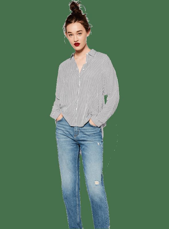 Zara OVERSIZED SHIRT White Navy