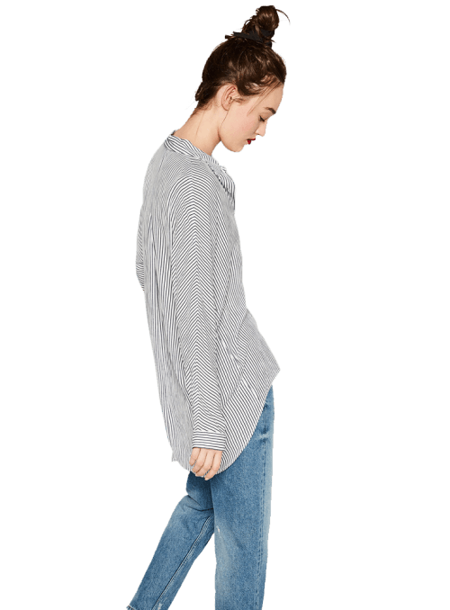 Zara OVERSIZED SHIRT White Navy