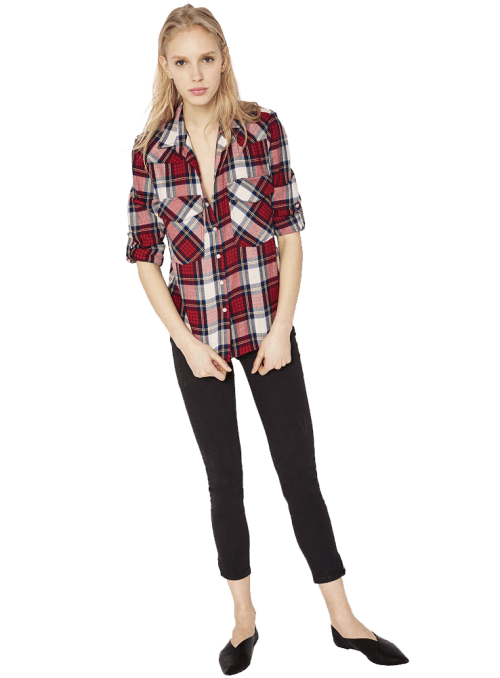 Zara V-NECK CHECK SHIRT